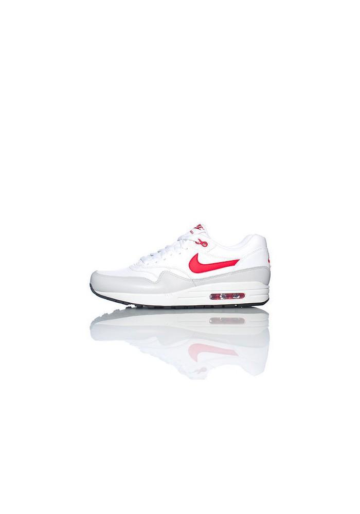 Baskets Nike Air Max 1 Cuir Blanc (Ref : 654466-102) Hommes Running